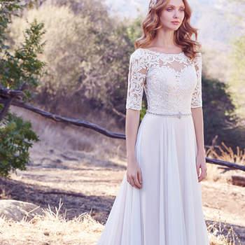 Die Ärmel im Illusions-Stil sorgen für tolle Effekte und  machen das Brautkleid Darcy zu etwas ganz Besonderem.