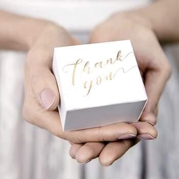Boite Thank You D'or 10 Pièces -  The Wedding Shop !