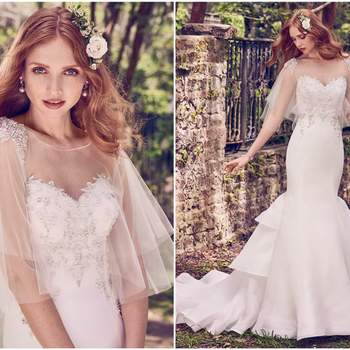 """Beaded lace motifs and Swarovski crystals accent the bodice, sweetheart neckline, and illusion scoop back in this Cameo Organza wedding dress, featuring a fit-and-flare skirt with tiered train. Finished with crystal buttons over zipper closure. Tulle capelet accented in beading and Swarovski crystals sold separately.    <a href=""""https://www.maggiesottero.com/maggie-sottero/quintyn/11185?utm_source=zankyou&amp;utm_medium=gowngallery"""" target=""""_blank"""">Maggie Sottero</a>"""