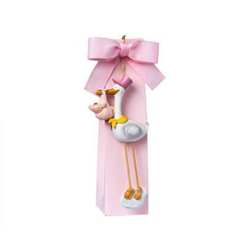 Caja de cigüeña y lazo rosa - Compra en The Wedding Shop