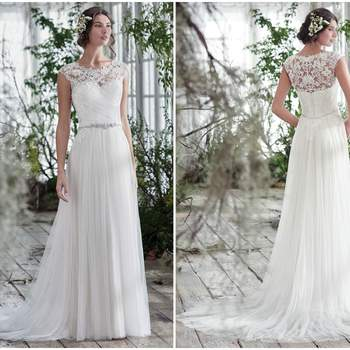 """Comprised of illusion tulle, this stunning sheath wedding gown sparkles with a delicate Swarovski crystal belt at the waist. A flattering ruched bodice, with feminine illusion lace neckline and cap-sleeves, is finished with crystal buttons over zipper and inner corset closure.  <a href=""""https://www.maggiesottero.com/maggie-sottero/patience-lynette/9766"""" target=""""_blank"""">Maggie Sottero</a>"""