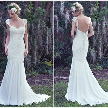 "This elegant sheath wedding dress creates a romantic and ultra-feminine shape. Generously beaded lace covers the fitted bodice before effortlessly falling into an Aria chiffon skirt just below the hips. Finished with a corset closure or covered buttons over zipper closure. Detachable lace cap-sleeves sold separately.  <a href=""https://www.maggiesottero.com/maggie-sottero/lana/9746"" target=""_blank"">Maggie Sottero</a>"