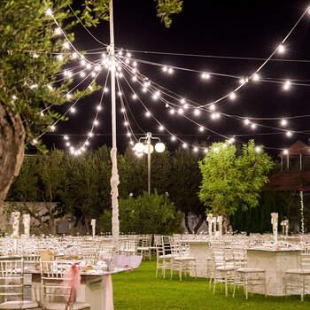 Il Giardino dei Pavoni: Le catenarie di lampadine sono un elemento decorativo perfetto per i ricevimenti all'aperto, un cielo stellato che fa brillare la tua festa.