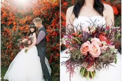Séance photographique de mariage inspirée par l'automne