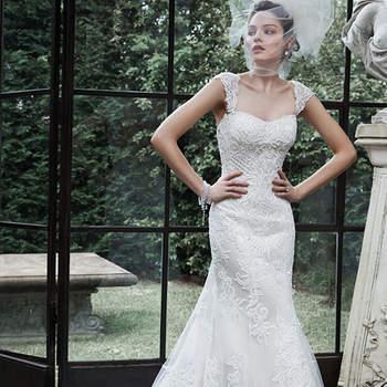 """Este ajustado e  elegante vestido de noiva com manguinha é sinônimo da beleza moderna, combinando padrões de renda mais delicadas, acentuado com enfeites de contas cintilantes. Acabado com botões cobertos mais  zíper e feche elástico interior. Luvas oferecidas separadamente.   <a href=""""http://www.maggiesottero.com/dress.aspx?style=5MS645"""" target=""""_blank"""">Maggie Sottero</a>"""