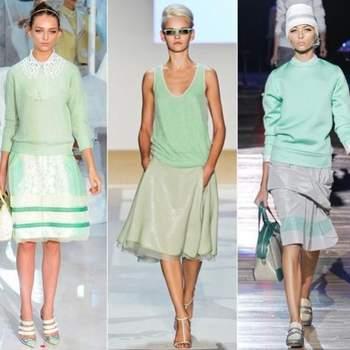 De gauche à droite: Louis Vuitton, Diane Von Furstenberg, Marc Jacobs. Toute en vert menthe!