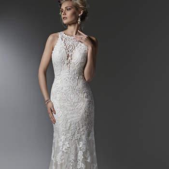 """Atemporal e elegante, este vestido de casamento tem bainha em renda e apresenta um efeito ilusão moderno sobre profundo decote em V e alças. Acabamento com botões forrados sobre o fechamento do zíper. <a href=""""https://www.maggiesottero.com/sottero-and-midgley/winifred/9578"""" target=""""_blank"""">Sottero and Midgley</a>"""