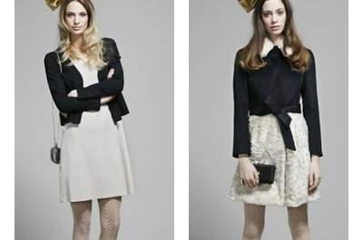 Abiti Moschino per le invitate a nozze: due modelli bon ton in bianco e nero dedicati alle più giovani della Main Collection A/I 2012-2013. Foto: Moschino