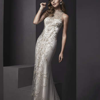 """Sophisticated and elegant is this tulle over Ava satin sheath gown. Covered in tulle and accented with intricate Swarovski crystal embroidery. Complete with mock-mandarin collar and finished with zipper closure.  <a href=""""http://www.sotteroandmidgley.com/dress.aspx?style=5SR105"""" target=""""_blank"""">Sottero and Midgley Spring 2015</a>"""