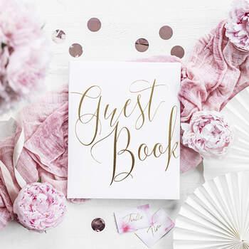 Libro de Firmas en blanco y oro- Compra en The Wedding Shop