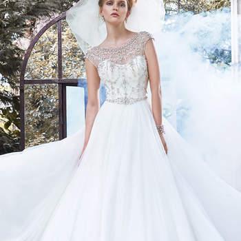 """Elegante glamour é encontrado neste vestido de baile de tule, acentuado com um impressionante decote ilusão,-mangas com arestas em cristais Swarovski. Acabado com cristal botões e feche com zíper.  <a href=""""http://www.maggiesottero.com/dress.aspx?style=5MW667"""" target=""""_blank"""">Maggie Sottero</a>"""