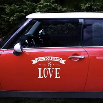 Sticker Pour Voiture All You Need Is Love - The Wedding Shop !