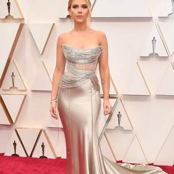 Scarlett Johansson en Oscar de la Renta. Credits: Getty Images