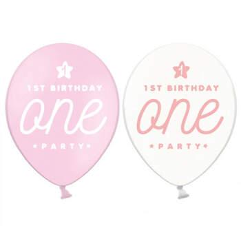 Globos Primer Cumpleaños Niña 6 unidades- Compra en The Wedding Shop