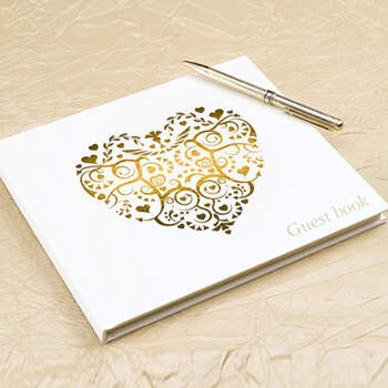 Libro de firmas corazón oro- Compra en The Wedding Shop