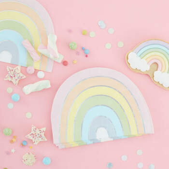 Servilletas arcoiris pastel 16 unidades- Compra en The Wedding Shop