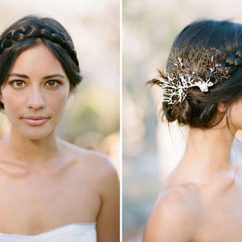 Penteado para noiva com cabelo preso e trança   Credits: Jillian Mitchell Photography
