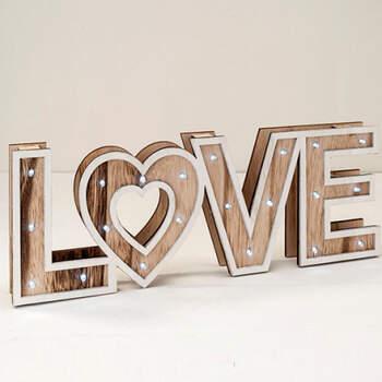 Letrero De Madera LOVE con Luz Led- Compra en The Wedding Shop
