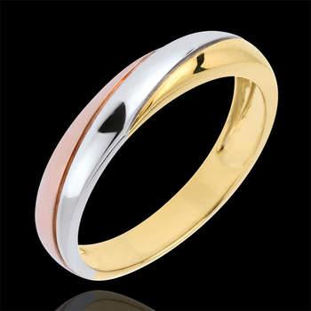 Elegancia y belleza para una alianza eterna que entrelaza 3 oros (blanco, rosa y amarillo), cada uno de ellos de 9 quilates. Foto: Edenly.  http://tinyurl.com/c4mec8v
