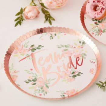 Assiettes Team Bride Floral 8 Pièces - The Wedding Shop !