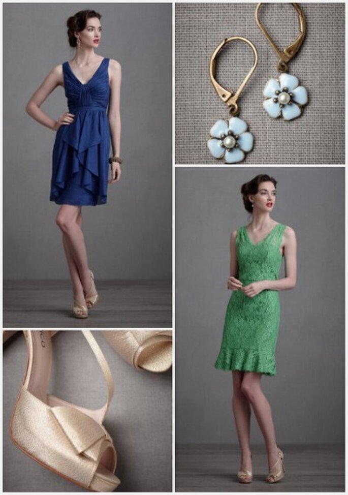 Los vestidos cortos con accesorios discretos son muy apropiados para las bodas en el día. Fotos: Bhldn