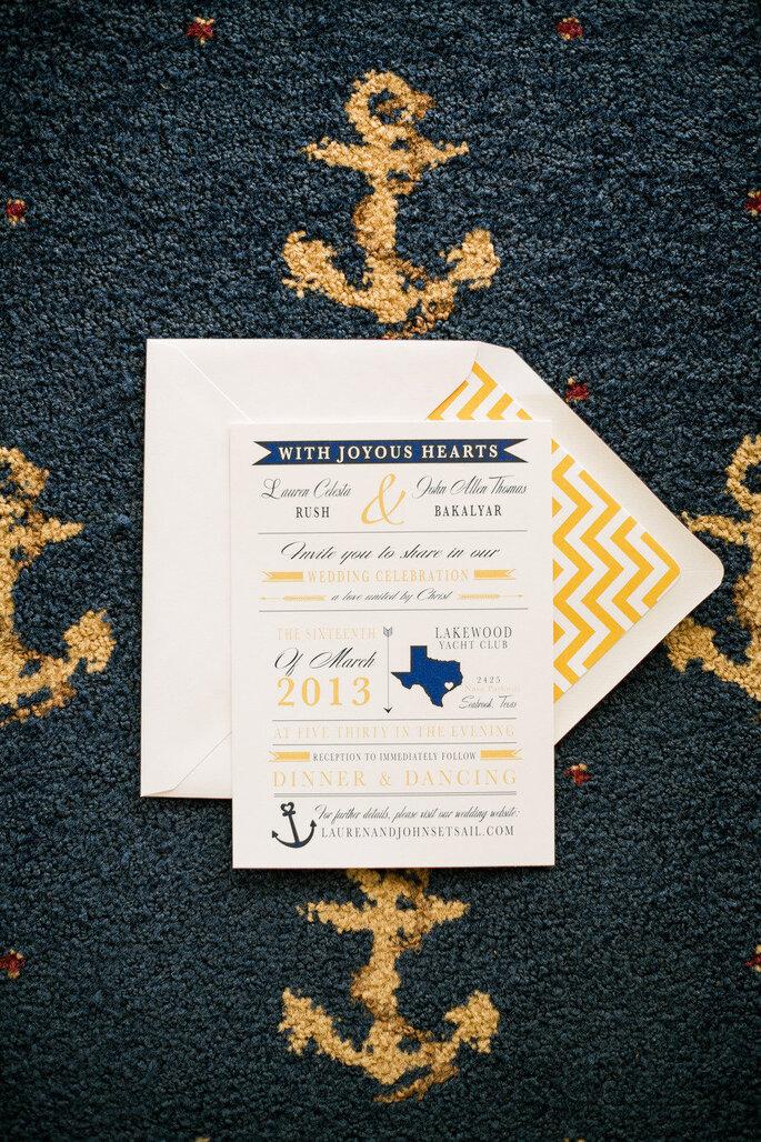 Invitación de boda temática naval