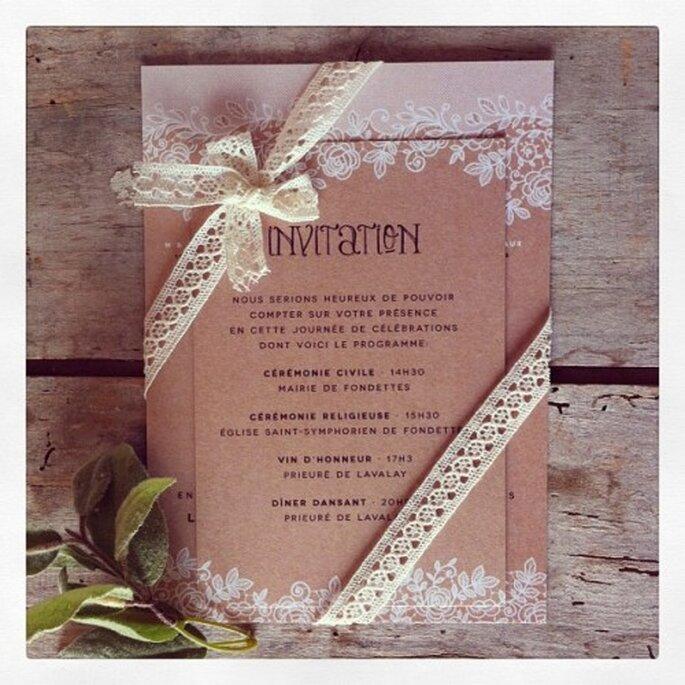Trouvez votre faire-part de mariage Dentelle idéal sur le site Dioton.fr