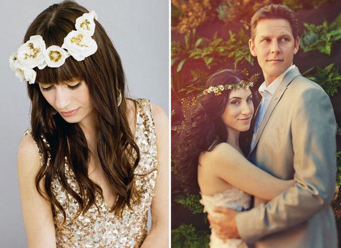 Due tipi di corona di fiori per la sposa. Foto: Green Wedding Shoes
