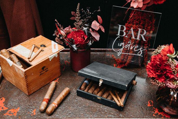 Décoration de mariage : Bar à cigares