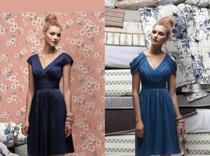 Vestidos de fiesta para damas de boda en color azul marino y cobalto con mangas - Foto Dessy