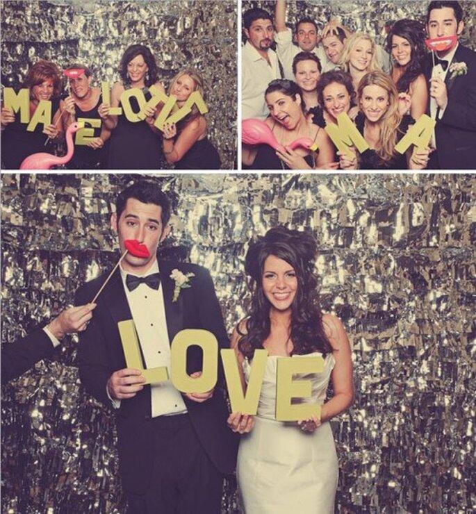 Lustige Fotos von den Hochzeitsgästen entstehen mit Photobooth – Foto: Green Weddings shoes