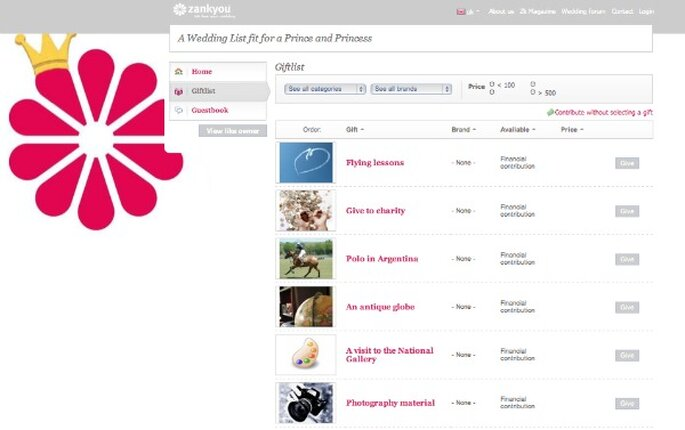 la liste de mariage zankyou pour un mariage royal - Zankyou Liste De Mariage