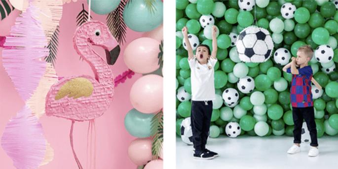 Piñata flamant et Piñata football