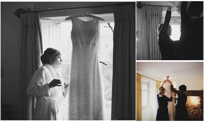 Arreglo de la novia el dia de la boda. Fotografía Roberto y María