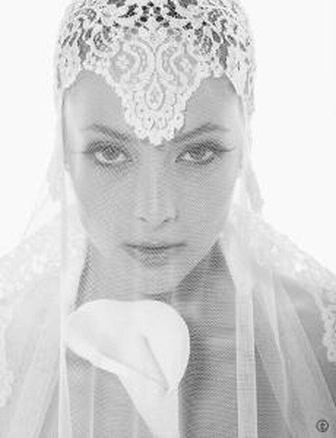 Velo de novia vintage estilo años 20 de Rosa Clará
