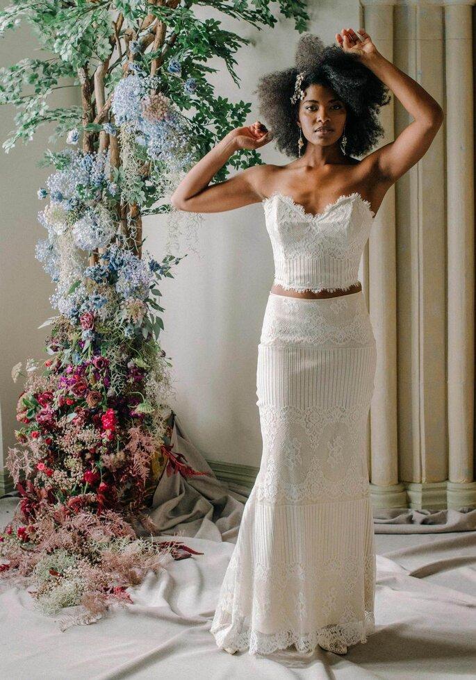 Robe de mariée vintage crop top