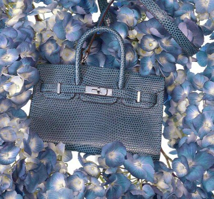 Borsa Birkin Tiny in lucertola blu. Hermès