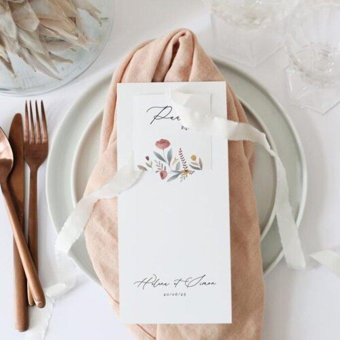 Présentation menu de mariage