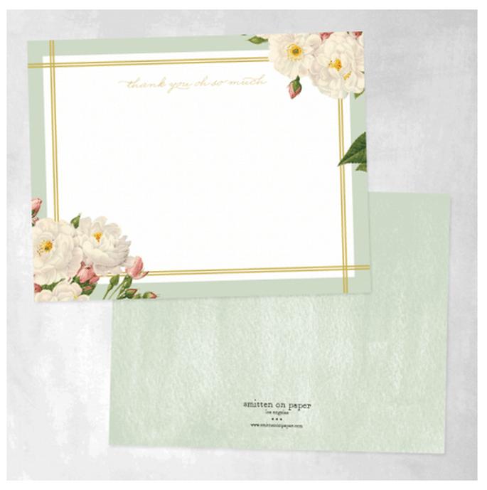 Tarjetas de agradecimiento con ilustraciones de flores y colores cálidos - Foto Smitten on Paper