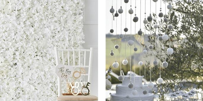 Mur de fleurs modulable et Baton avec pompons décoratifs
