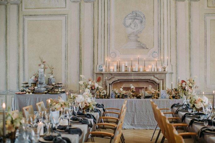 gausfotografie.de: Elegantes Interieur bei der Hochzeit im Herrenhaus.
