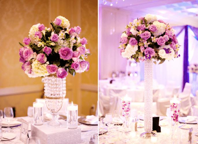 Decoración de boda en morado y rosa. Fotografía Jeny Lynne