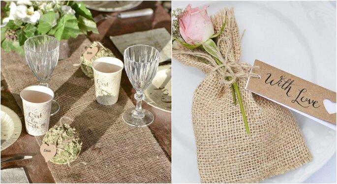 Caminos de mesa para decoración de bodas rústicas