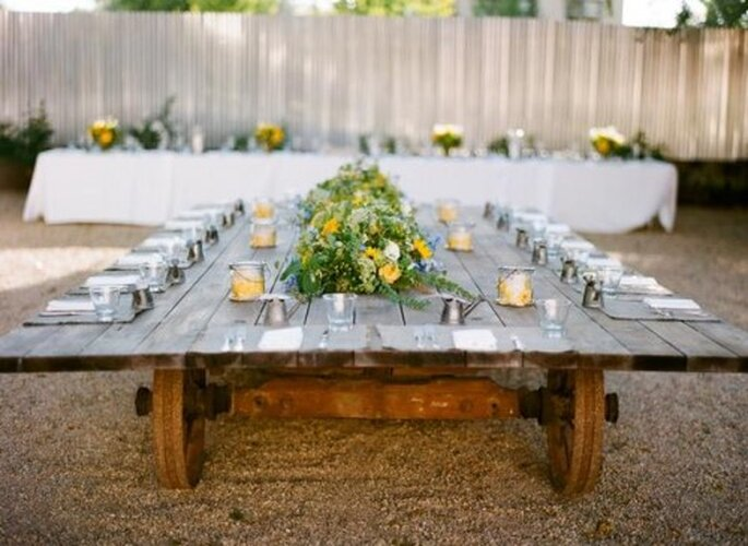 Montajes en mesas rectangulares largas - Foto Sylvie Gil Photography