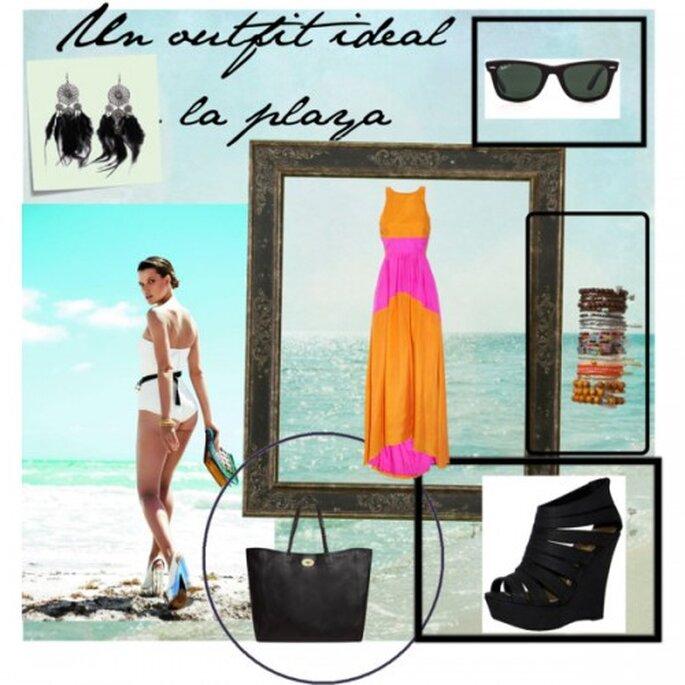 Vestido: Net a porter.com, bolso: Mulberry, Gafas de sol: Rayban,  Wedges: Ricketyrack, Pulseras: bloomingdales.com