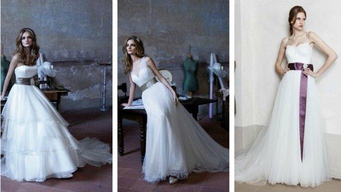 Tre modelli con fascia per accentuare il punto vita. Alessandra Rinaudo Collezione 2012