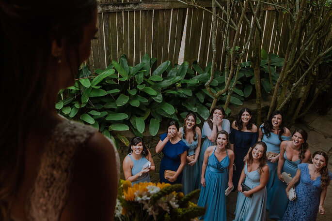 madrinhas de casamento em azul