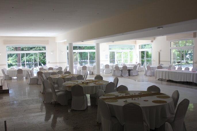 La salle de réception de la Patulière, sobre et élégante