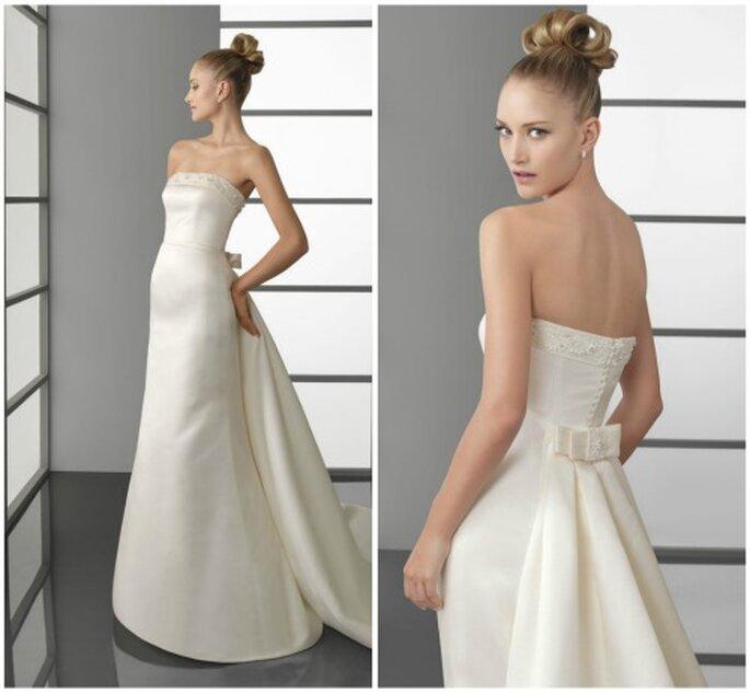 Vestidos de novia sencillos. Dos detalles del mismo y elegante modelo. Foto: Aire