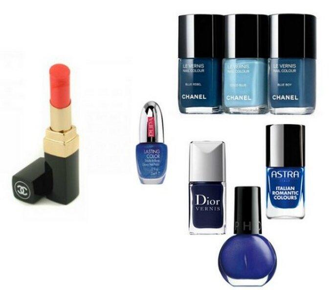 Lipstick aranciato di Chanel. Smalti Chanel Le Vernis, Lasting Color di Pupa, Dior Vernis, Astra e Sephora.